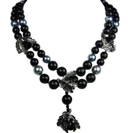 Costume Jewellery, Glamour Black Teardrop Rhinestone Multi Style Fashion Pearl Dressy Necklace