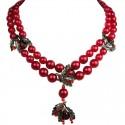 Glamour Red Teardrop Rhinestone Multi Style Pearl Dressy Necklace