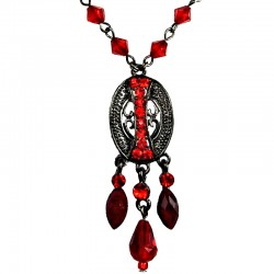 Red Trendy Teardrop Fashion Oval Pendant Necklace