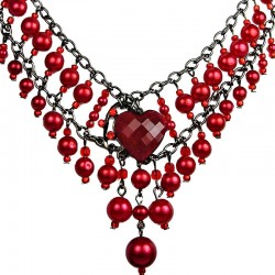 Red Heart Rhinestone Waterfall Fashion Pearl Cascade Statement Necklace