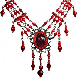 Chic Statement Costume Jewellery, Fashion Red Oval Rhinestone Waterfall Pearl Cascade Necklace