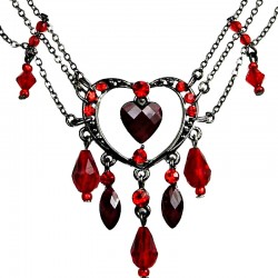Chic Costume Jewellery, Fashion Red Heart Rhinestone Bead Cascade Teardrop Drop Necklace
