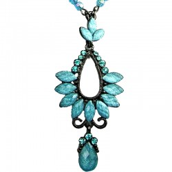 Blue Rhinestone Diamante Teardrop Pendant Drop Necklace
