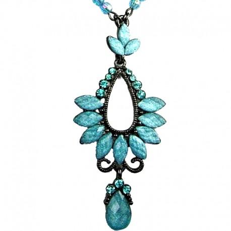 Chic Costume Jewellery, Fashion Women Blue Rhinestone Diamante Teardrop Pendant Drop Necklace