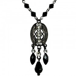 Black Trendy Teardrop Fashion Oval Pendant Necklace