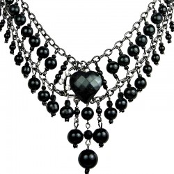 Chic Costume Jewellery, Black Heart Rhinestone Waterfall Fashion Pearl Cascade Statement Necklace