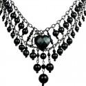 Black Heart Rhinestone Waterfall Fashion Pearl Cascade Statement Necklace