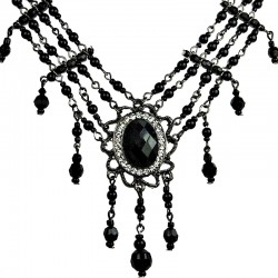 Chic Statement Costume Jewellery, Fashion Black Oval Rhinestone Waterfall Pearl Cascade Necklace