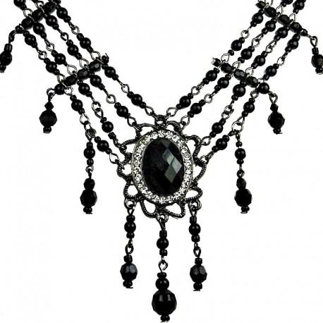 Chic Statement Costume Jewellery, Fashion Black Oval Rhinestone Waterfall Pearl Cascade Necklace
