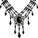 Black Oval Rhinestone Waterfall Pearl Cascade Necklace