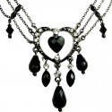 Black Open Heart Rhinestone Bead Cascade Teardrop Drop Necklace