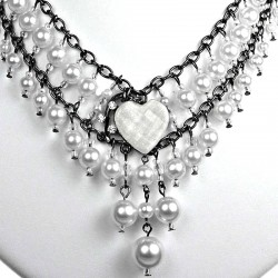White Heart Rhinestone Waterfall Fashion Pearl Cascade Statement Necklace