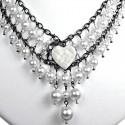 White Heart Rhinestone Waterfall Fashion Pearl Cascade Statement Necklace