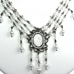 Chic Statement Fashion Jewellery, White Oval Rhinestone Waterfall Costume Pearl Cascade Necklace