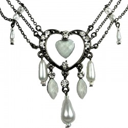 Chic Costume Jewellery, Fashion White Open Heart Rhinestone Bead Cascade Teardrop Drop Necklace