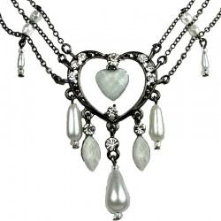 Chic Costume Jewellery, Fashion White Open Heart Rhinestone Bead Cascade Teardrop Drop Necklace