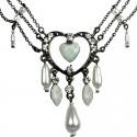 White Open Heart Rhinestone Bead Cascade Teardrop Drop Necklace