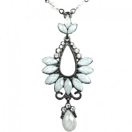 Chic Costume Jewellery for Fashion Women, White Rhinestone Diamante Teardrop Pendant Drop Necklace