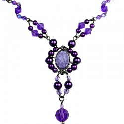 Chic Costume Jewellery, Purple Oval Rhinestone Bead Fashion Pearl Y-shaped Necklace