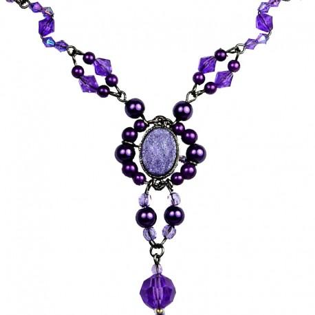 Chic Costume Jewellery, Purple Oval Rhinestone Bead Fashion Pearl Y-shaped Necklace