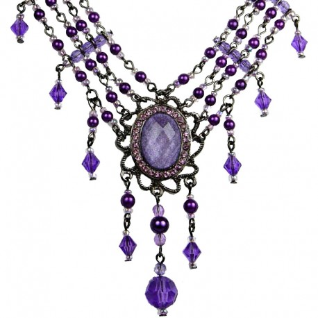 Chich Statemen Costume Jewellery, Purple Oval Rhinestone Waterfall Fashion Pearl Cascade Necklace