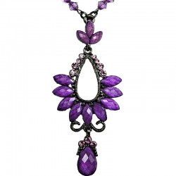 Purple Rhinestone Diamante Teardrop Pendant Drop Necklace