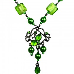 Chic Costume Jewellery, Venetian Glass Bead Green Rhinestone Chandelier Pearl Fashion Drop Necklace