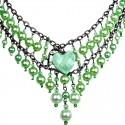 Green Heart Rhinestone Waterfall Fashion Pearl Cascade Statement Necklace