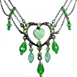 Chic Costume Jewellery, Fashion Green Open Heart Rhinestone Bead Cascade Teardrop Drop Necklace