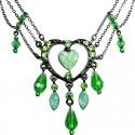 Green Open Heart Rhinestone Bead Cascade Teardrop Drop Necklace