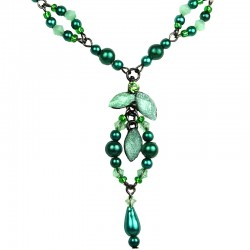 Mother Costume Jewellery Mum Fashion, Green Teardrop Rhinestone Pearl Y-shaped Necklace
