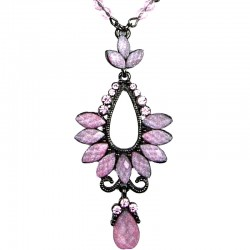 Chic Costume Jewellery for Fashion Young Women, Pink Rhinestone Diamante Teardrop Pendant Drop Necklace
