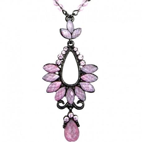 Chic Costume Jewellery for Fashion Young Women, Pink Rhinestone Diamante Teardrop Pendant Drop Necklace