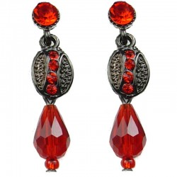 Red Teardrop Bead Oval Drop Earrings