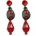 Red Teardrop Bead Oval Drop Earrings