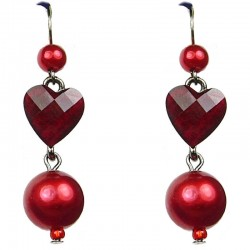 Red Heart Rhinestone Pearl Drop Earrings