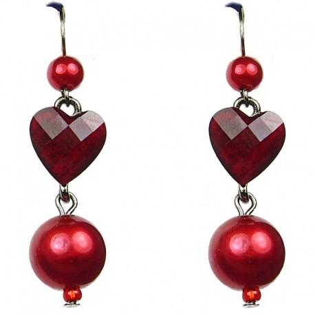 Dressy Chic Costume Jewellery, Red Heart Rhinestone Fashion Pearl Drop Earrings