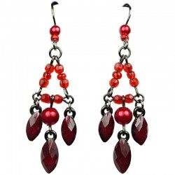 Red Teardrop Rhinestone Bead Chandelier Drop Earrings
