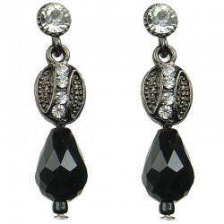 Chic Costume Jewellery, Black Teardrop Bead Fashion Dainty Drop Earrings
