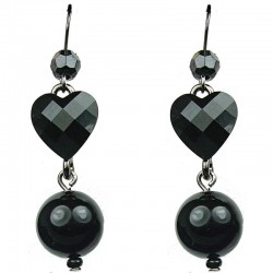 Black Heart Rhinestone Pearl Drop Earrings