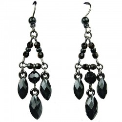 Black Teardrop Rhinestone Bead Chandelier Drop Earrings