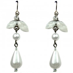 White Teardrop Rhinestone Pearl Drop Earrings