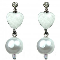 White Heart Rhinestone Pearl Drop Earrings