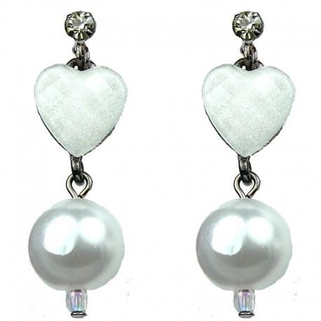 Chic Costume Jewellery White Heart Rhinestone Fashion Pearl Drop Earrings