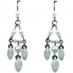 Chic Fashion Jewellery, White Teardrop Rhinestone Costume Pearl Bead Chandelier Drop Earrings