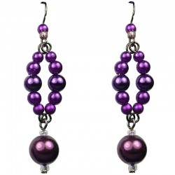 Chic Fashion Jewellery, Purple Costume Pearl Drop Earrings