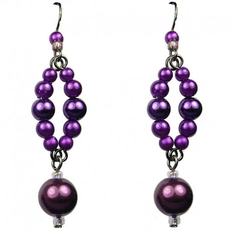 Chic Fashion Jewellery, Purple Costume Pearl Drop Earrings
