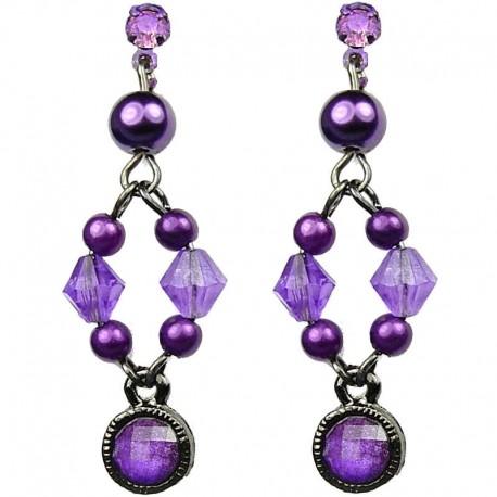 Chic Costume Jewellery, Dangling Purple Round Rhinestone Bead Fashion Pearl Drop Earrings
