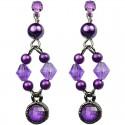 Dangling Purple Round Rhinestone Bead Pearl Drop Earrings