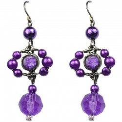 Chic Fashion Jewellery, Purple Rhinestone Bead Costume Pearl Drop Earrings